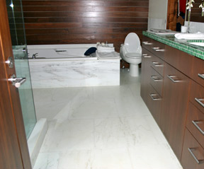 Radiant Heated Floor In Bathroom.